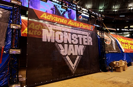 Monster Jam sign in the Edward Jones Dome