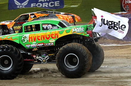 Avenger monster truck racing with Jugle flags