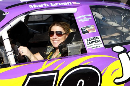 Stephanie Leffler in Mark Green's Juggle-sponsored car