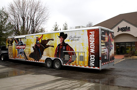 Travis Seller's professional bullriding trailer